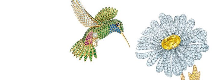 Bird-and-flower-diamond-brooches