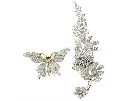 Butterfly-flower-Spray-Brooches