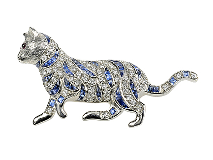 Cat-diamond-brooches