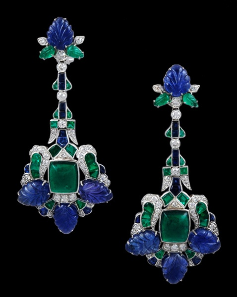Emerald-and-  Sapphire-diamond-earrings-for-women