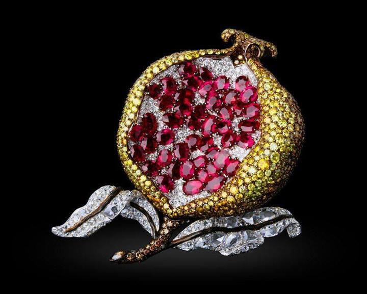Pomegranate-diamond-brooches