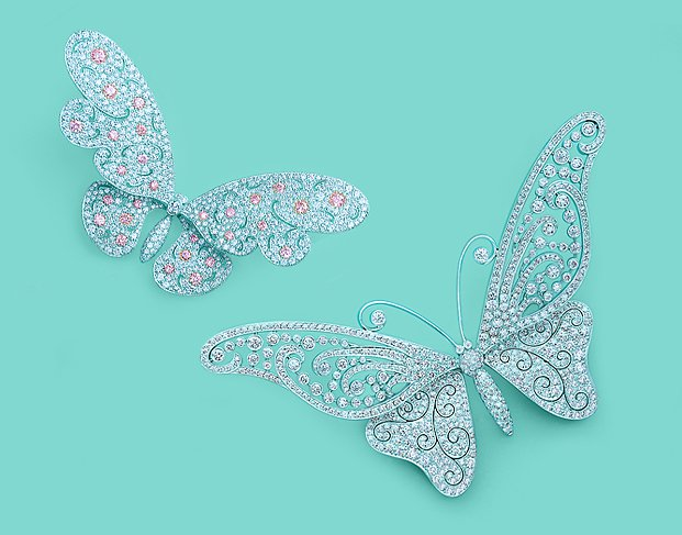 White-and-pink-diamond-brooches