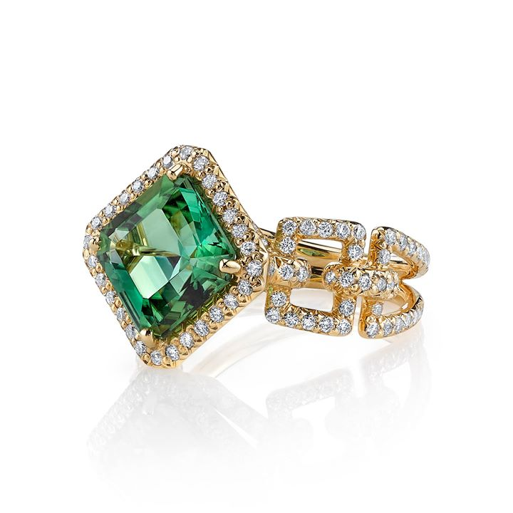 the 18k gold and diamond green tourmaline Buff rin